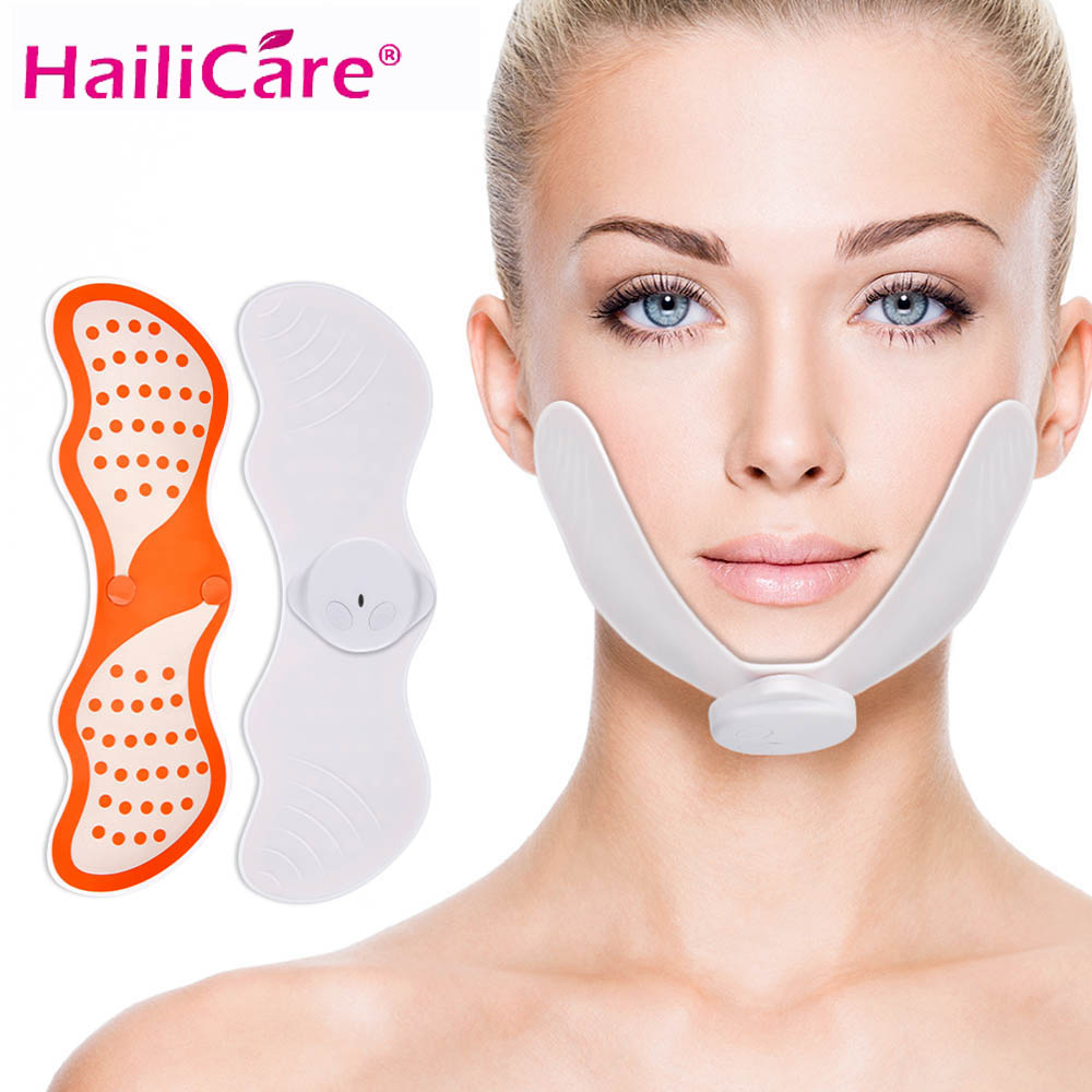 EMS Face Lifting Machine Facial Muscle Stimulator V Face Slimming Exerciser EMS Massager For Face With Gel Pads Skin Lift Tools