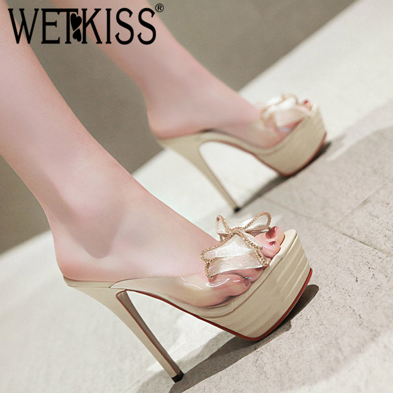 WETKISS Transparent Pvc Slippers Women Peep Toe Footwear Mesh Butterfly Knot Slides Shoes Platform Female Mules Shoes Woman 2019WETKISS Transparent Pvc Slippers Women Peep Toe Footwear Mesh Butterfly Knot Slides Shoes Platform Female Mules Shoes Woman 2019