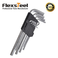 9pcs Hex Key Set 1 5 10MM Long Size Cr V Material With Chrome Plated Surface