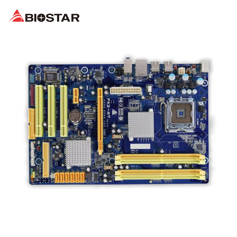 BIOSTAR P43-A7 Desktop Motherboard P43 LGA 775 DDR3 8G SATA2 USB2.0 ATX p45s p43s 775 needle quad core motherboard ddr2 ddr3 p31 p43
