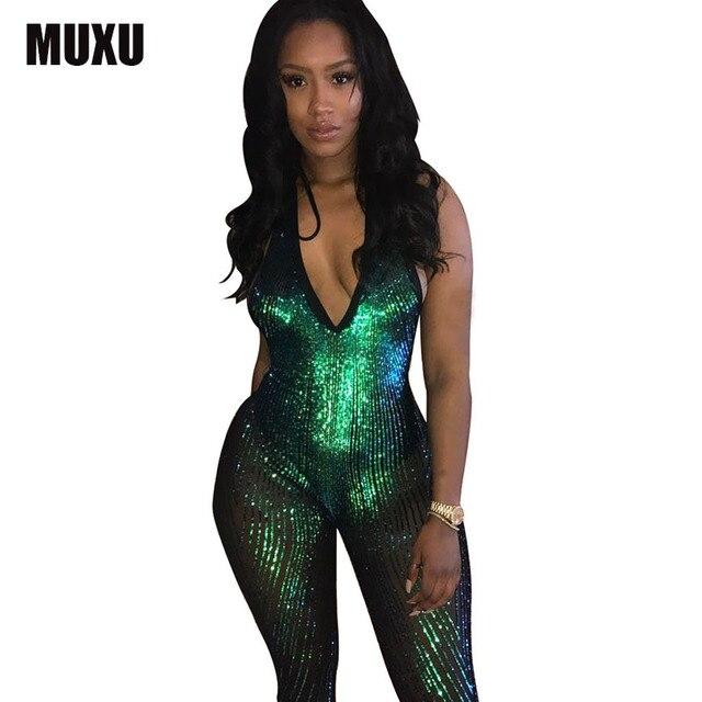fab4f6ea3353 MUXU green sequin jumpsuit romper women jumpsuit bodies woman sexy bodysuit  combishort v neck jumpsuit sexy