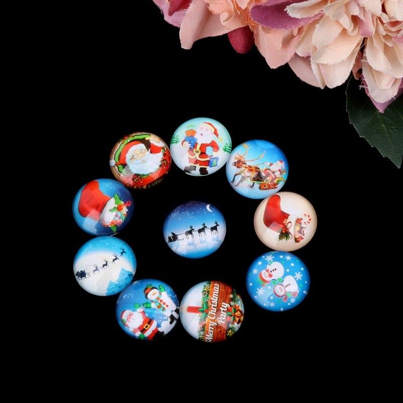 10 шт. случайным ручной Рождество Санта Клаус Снеговик Круглый Стекло Кабошон для изготовления ювелирных изделий DIY ювелирных изделий 20 мм