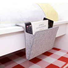 Christmas Grey Bed Storage Pockets Felt Bedside Hanging Storage Organizer Holder with 1 Inner Pockets for Bed Table Sofa