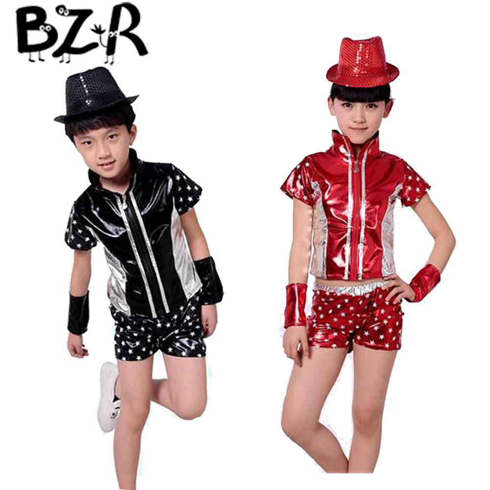 Bazzery Kids Jazz Dance Suit Children Stitching Design Paint leather Coat and Shorts for Hip-hop Unisex Kids Ballroom Costume