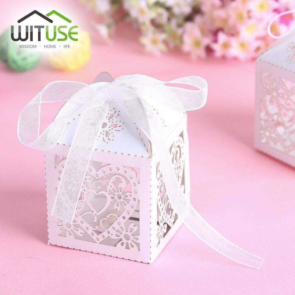 Boite Cadeau 200pcs Wedding Favor Paper Candy Box with Ribbon ...