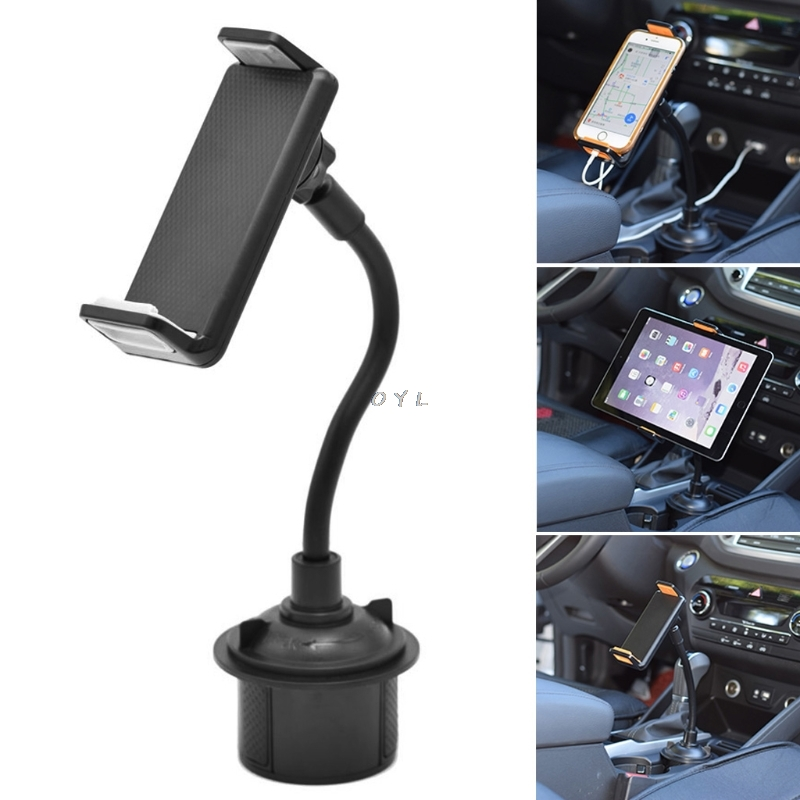 Car Vehicle Drinks Cup Holder Phone Mount Holder 360 Degree Rotatable Cradle With Longer Neck For Mobile Phone And Tablet