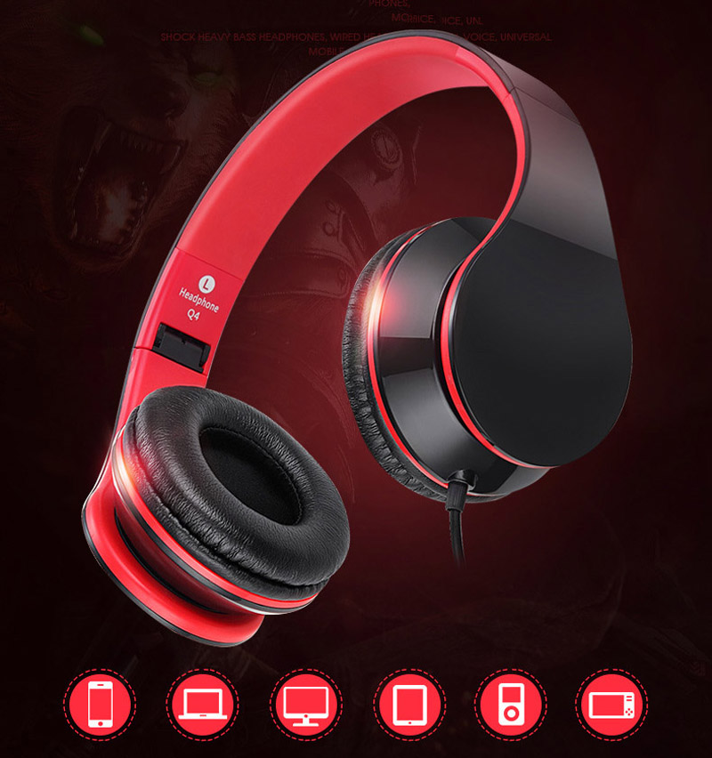 Q4 Wired Adjust Headphones With MIC Over Ear Headset Stereo Bass Earphones HiFi Sound headphone Music Earphone For phones