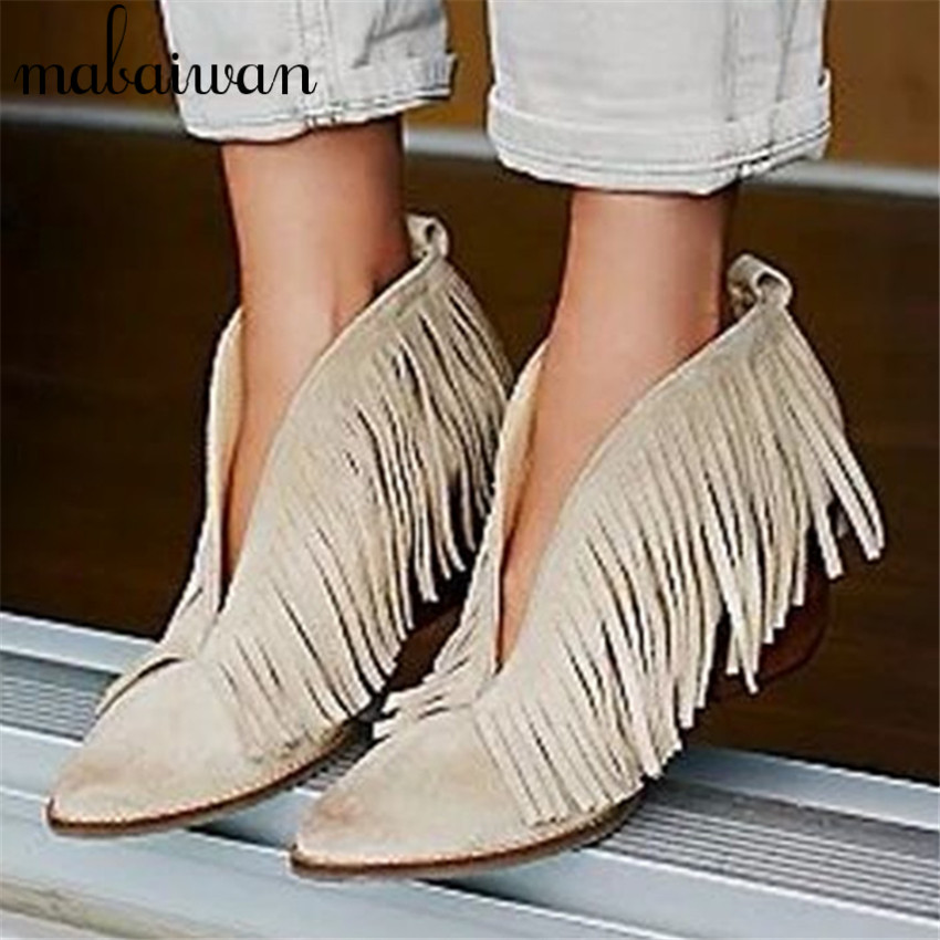 ФОТО Sexy Front V Open Women Pointed Toe Ankle Boots Thick High Heels Slip On Tassels Women Pumps Fringe Botas Mujer Summer Booties