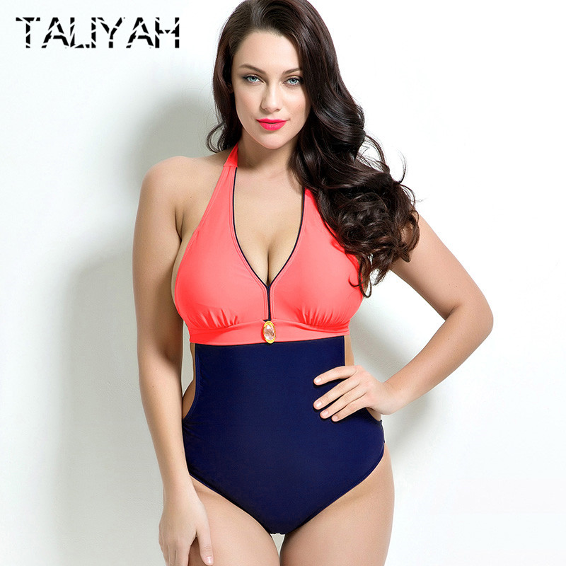 c3b2046cda6 Plus Size Swimwear One Piece Swimsuit Solid Color Women s Fat Swimwear  Bathing Suit Large Cup Halter Maillot De Bain Vintage-in Body Suits from  Sports ...