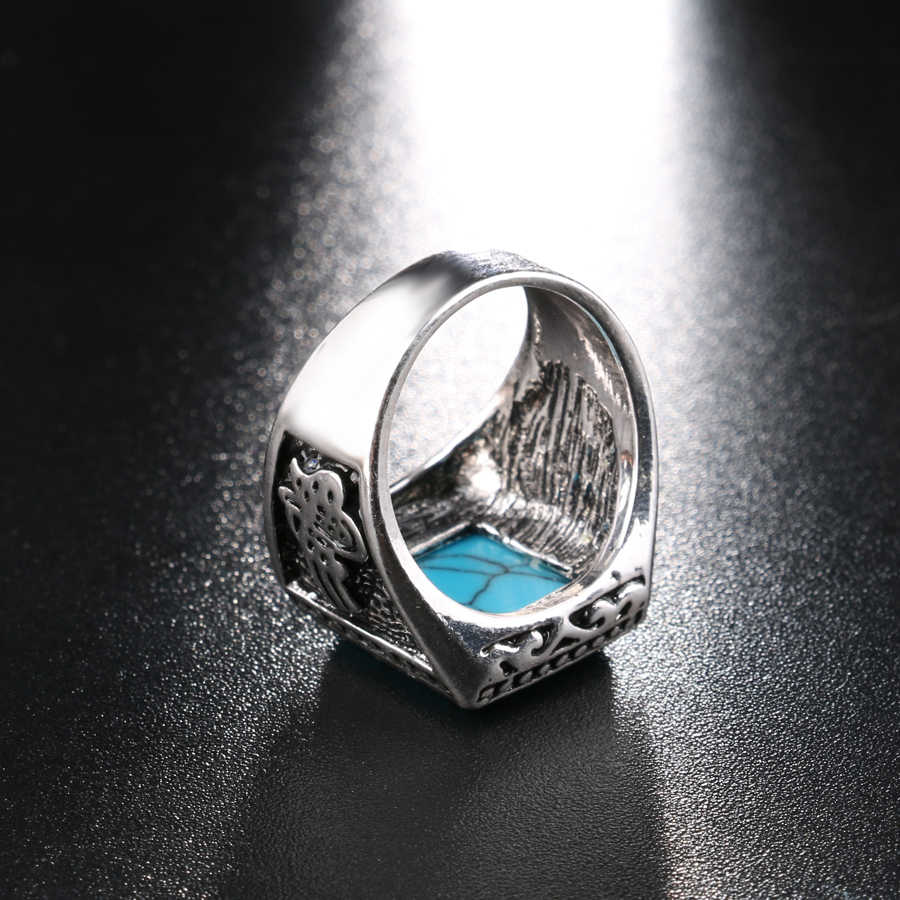 2017แฟชั่นพังก์เรซิ่นแหวนสีเงินเครื่องประดับวินเทจสีดำแหวนนิ้วสำหรับผู้ชายAneisขนาด7-10