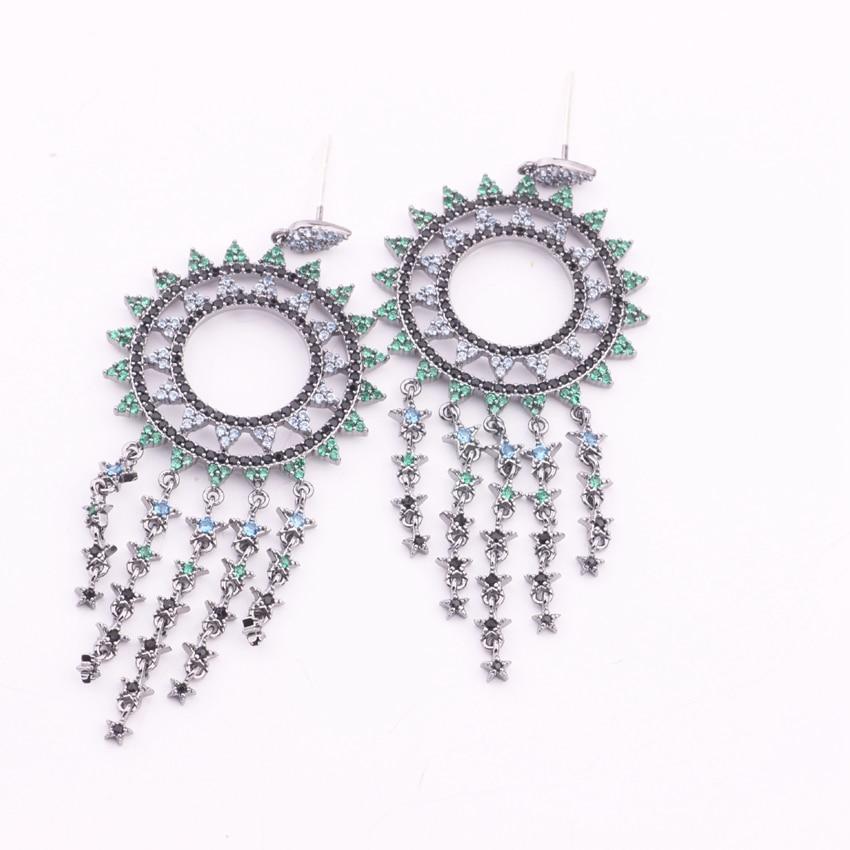 Fashion Sunflower Tassel Long Drop Earrings for Women Green Crystal Zircon Gold Filled Earings Silver needle Party Jewelry