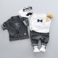Baby Boys Sets Boys Clothing baby boys three pieces sets suits+pants+t shirt bow ties cotton turn down collars full baby formal