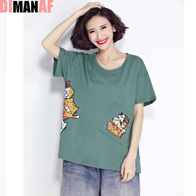 Plus Size Women T Shirt Kawaii Cat Pattern 51