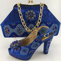 New Arrival Rhinestone Basic Shoes And Bag Set African Style Ladies High Heels Shoes And Bag