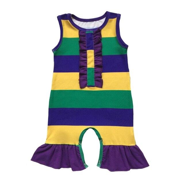 Purple Green Gold Stripes Custom Print Infant Clothes Silk Milk