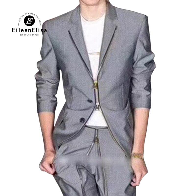 Nouveau Lady Printemps Fit Manches Mode Slim Tirette Longues gris Femmes Veste Noir 2019 Manteau Vêtements À Bureau De Féminins RqC7Cwv