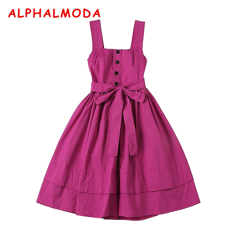 ALPHALMODA 2018 Summer Women's New Cotton Tank Dress Solid Color Princess Styles Sashes Flounced Ladies Vestidos S L