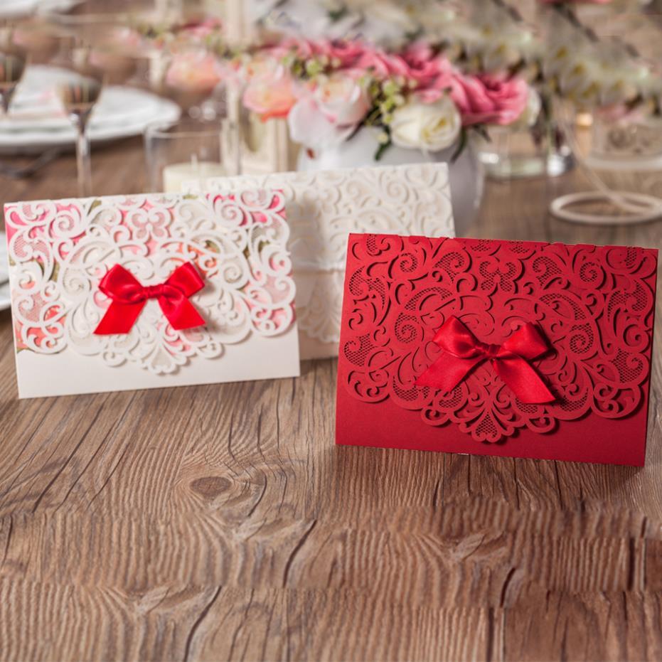 Free Personalized Elegant Red Laser Cut Floral Wedding Invitation ...
