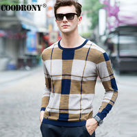 High Quality Soft Warm Merino Wool Sweater Men Brand Clothing Leisure Striped O Neck Sweaters Knitted