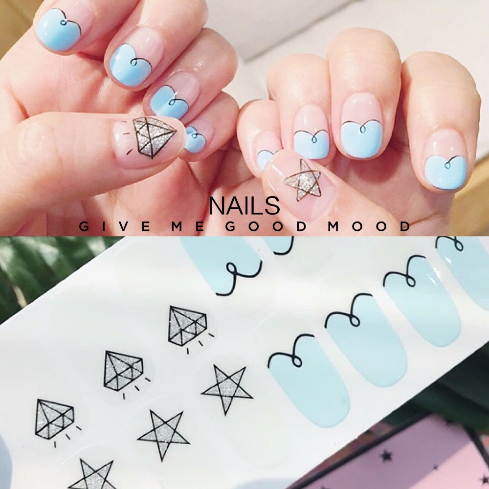 2 sets/pack High quality diamond and blue cloud pattern nail ...