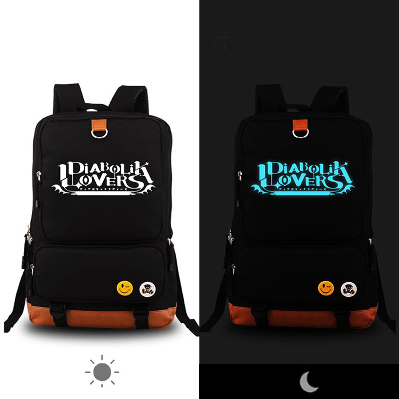 High Quality Anime Vampire DIABOLIK LOVERS Luminous Printing Canvas Backpack Rucksack School Bags for Teenagers Women Bag