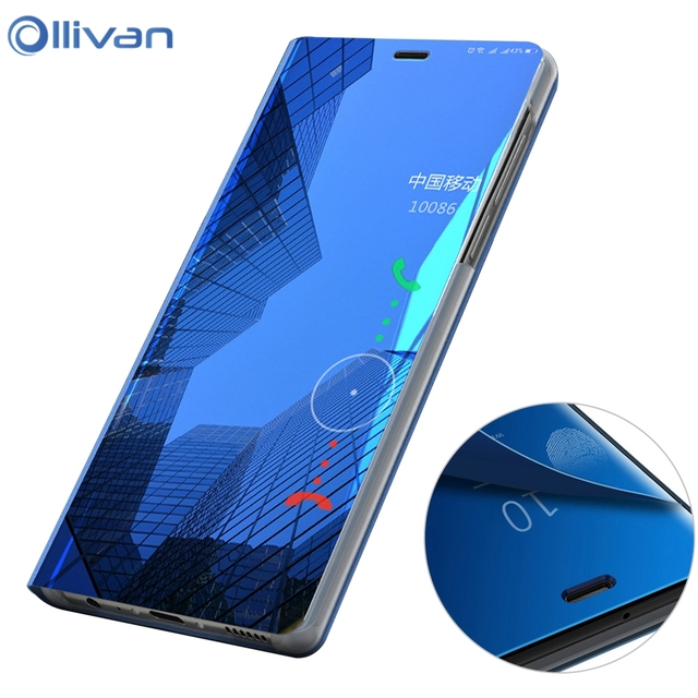new styles 73fab c8f4e US $3.68 20% OFF|OLLIVAN Luxury Clear Smart Mirror Case For Xiaomi Redmi  Note 5 Flip Stand Cover For Xiaomi A2 Lite Redmi Note 5 Pro 6 Pro 6A S2-in  ...