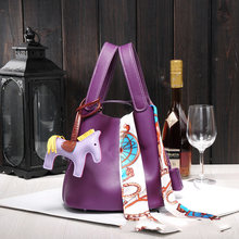 Luxury genuine leather guaranteed cowhide women handbag Famous brand lady lock bag bucket shopping bags 2019 new female handbag(China)