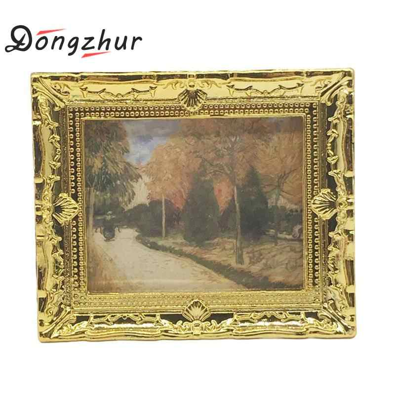 Dongzhur 1 Pc Diy Dollhouse Mini Oil Painting Dollshouse Miniature 1:12 Miniature Furniture Doll House Resin Picture Frame