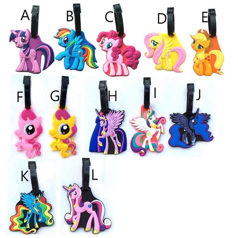 Handmade PVC Fashion Horse Unicorn Suitcase Luggage Tag Cartoon Ponies Address Holder Baggage Label Identify Travel Accessories