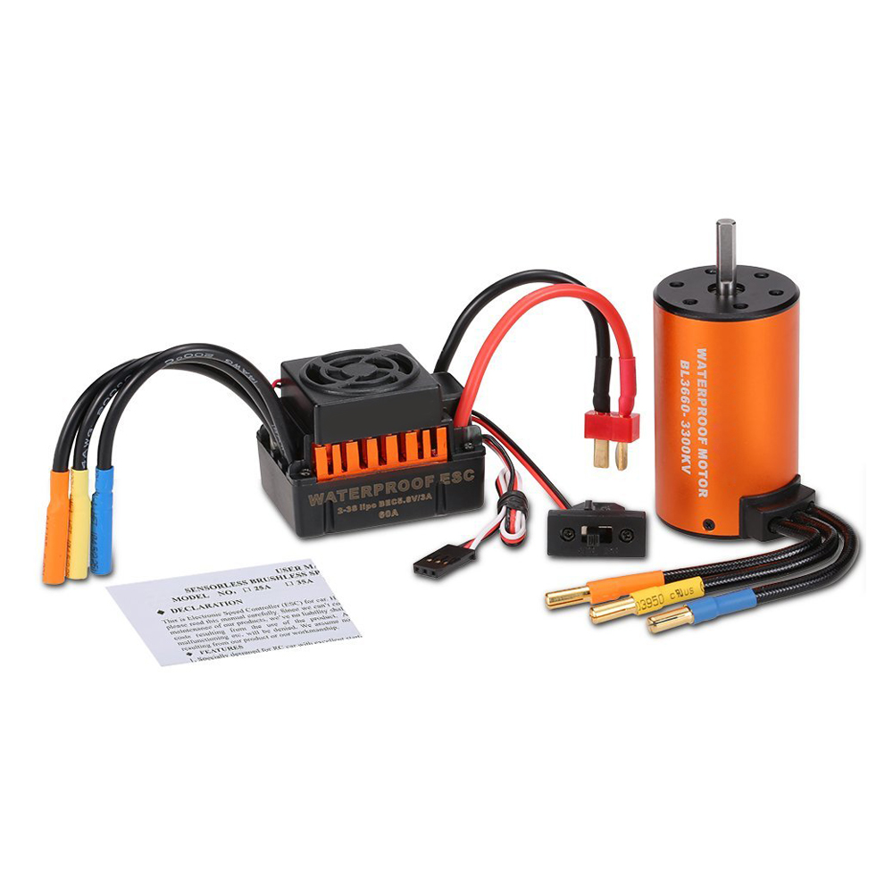 HOT SALE Upgrade Waterproof 3660 3300KV Brushless Motor with 60A ESC Combo Set for 1/10 RC Car Truck surpass hobby upgrade waterproof 3650 3900kv rc brushless motor with 60a esc combo set for 1 10 rc car truck motor kit