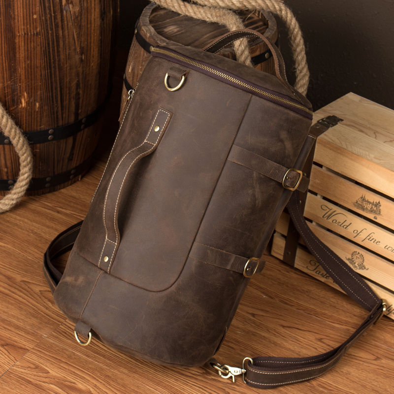 2017 Vintage Backpack Men Cow Leather Handmade High Quality Duffle College Student Shoulder Bags Cowboy Multi-function Daypack the new high quality imported green cowboy training cow matador thrilling backdrop of competitive entrance papeles