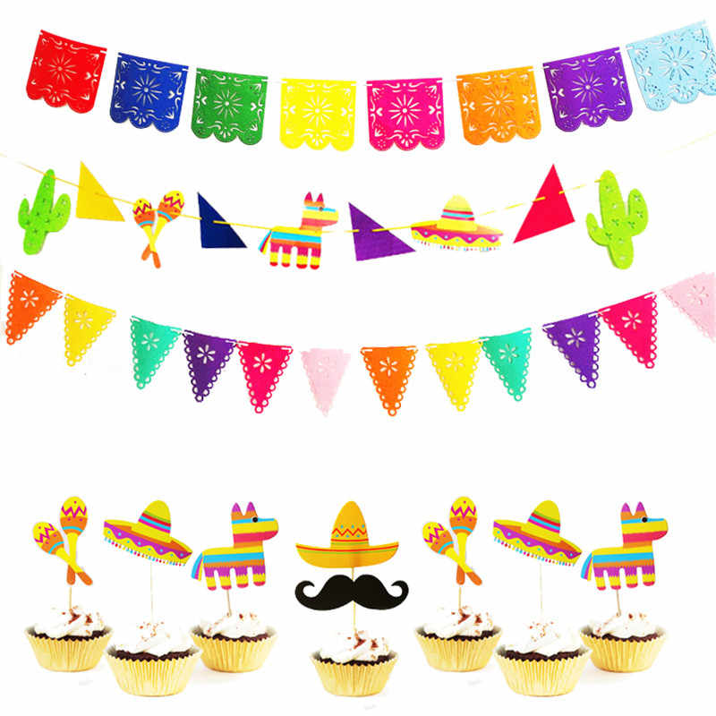 Omilut Mexican Party Decoration Banner LLama Cactus Hat Cake Topper Childrens Kid Baby