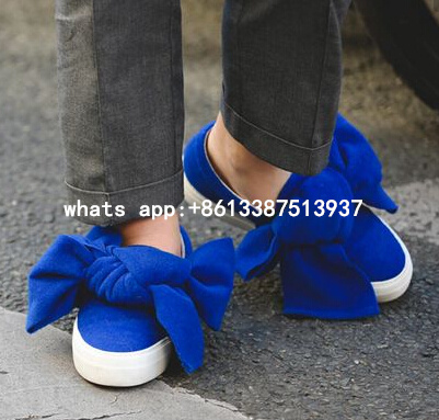 2017 Spring New Hot Women Solid Blue/Black Round Toe Big Bow Low Top Slip On Flat Casual Shoes Knot Platform Trainers Flats hot sale 2016 new fashion spring women flats black shoes ladies pointed toe slip on flat women s shoes size 33 43