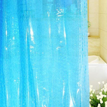 Shower Curtain Bathroom Bath Curtains Thicken 3D Waterproof Water Cube Translucent EVA Easy Clean BLUE 2016