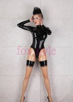 sexy rubber classical jumpsuits latex clothes inclduing feets