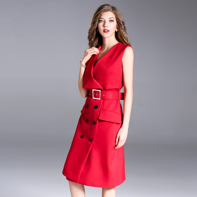 Women Spring Pencil Dress Office Ladies Elegant Double Breasted Red Orange Dress Sleeveless V Neck Slim Dress