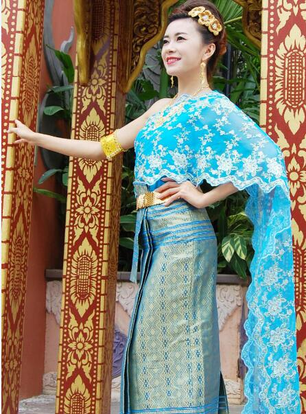Купить с кэшбэком Asian Thai Laos Vietnam Dai Nation Folk dance Traditional dress blue Queen single shoulder Ancient Thailand style Outfit