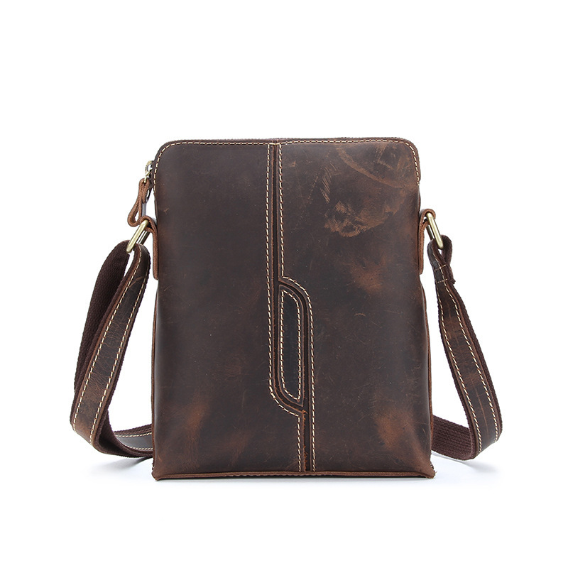 Mens Crossbody Shoulder Messenger Bag Real Cow Leather School Bag Ipad Sling Small Crazy Horse Leather Portfolio Mushi-xy1026
