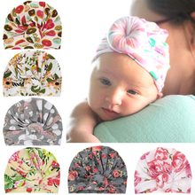 Puseky Newborn Baby Toddler Print Hat Baby Girl Knotted Hat Cute Donut Turban Bow Cap Unicorn Beanie Top Knot Kids Photo Props(China)
