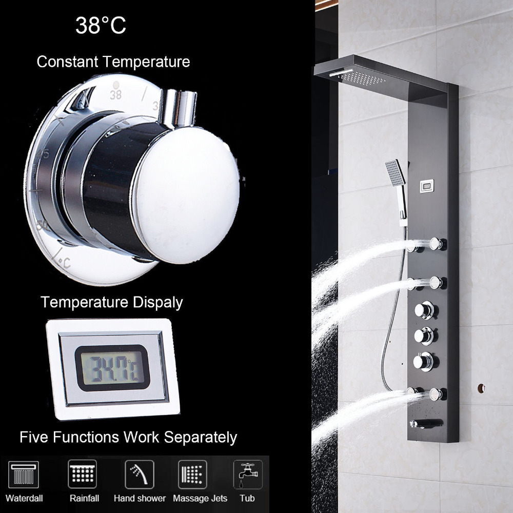 Stainless Steel Waterfall Rainfall Shower Panel Faucet Thermostatic Bathroom Shower Panel Towel Black Brush