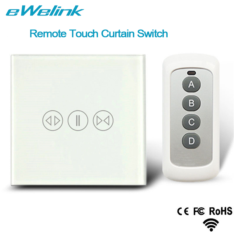 eWelink EU Standard Wireless Remote Control Curtain Switches, Glass Panel Touch Curtain Switch for Electric Curtain Motor ewelink eu uk standard 1 gang 1 way touch switch rf433 wall switch wireless remote control light switch for smart home backlight