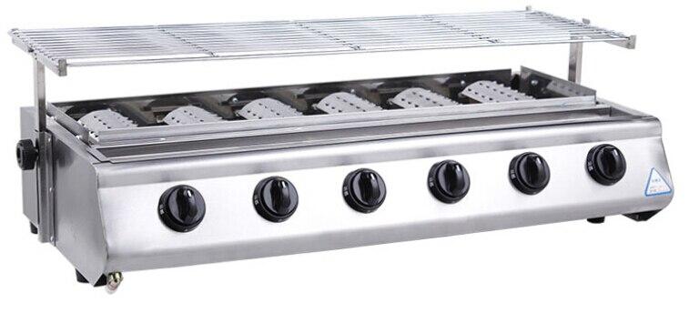 Barbecue grille grille radiante 6 brûleurs pour barbecue à gaz commercial extérieur en acier inoxydable