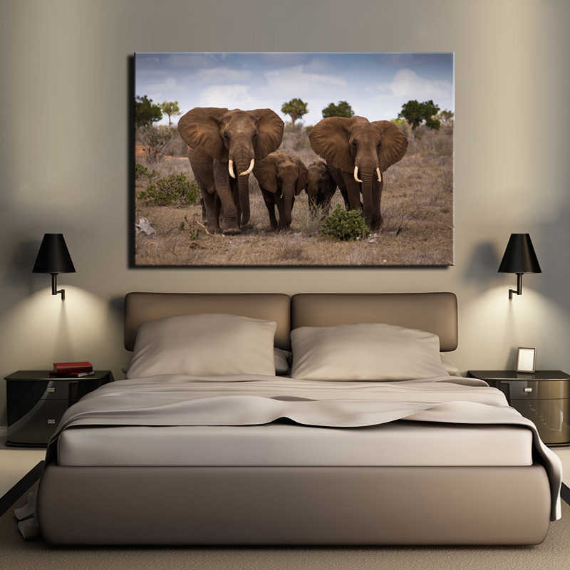 The African Grassland Landscape Posters and Prints Wall Art Canvas Painting Wall Decoration The Family of Elephants Pictures