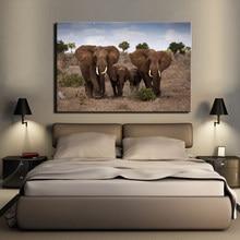Cartazes e Cópias da Lona Arte Da Parede da Paisagem Pastagens Africano Pintura Decoração Da Parede Da Família de Elefantes Fotos