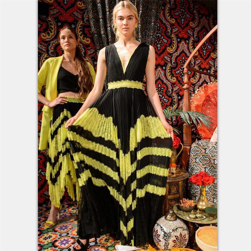 Women Runway Dress 2019 High Quality Spring Summer V Neck Sleeveless Patchwork Lace Pleated Elegant Lady
