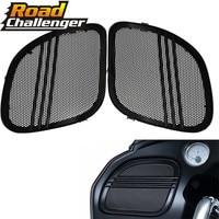 For Harley Touring Road Glide FLTRX 2015 2018 Motorcycle Black Tri Line Speaker Grills Cover Trim Mesh