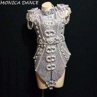 Женские сексуальные сценические блестящие серебристо серые жемчуг кристаллы наряд танцевальная одежда сцена для ночного клуба танцевальн