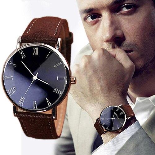 Men's Stylish Simple Roman Numerals Dial Faux Leather Band Quartz Wrist Watch