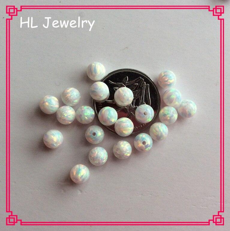 100 PCS/Lot Synthétique Feu Blanc/Bleu Opale Perles 5 MM Cabochon perles rondes Opale-in Perles from Bijoux et Accessoires    2