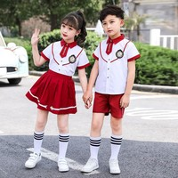 100 180cm Summer Kindergarten British Style Children's Class Boy and Girl Uniforms Primary School Students Clothes Set